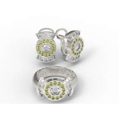 Восковка комплект кольцо серьги 9169